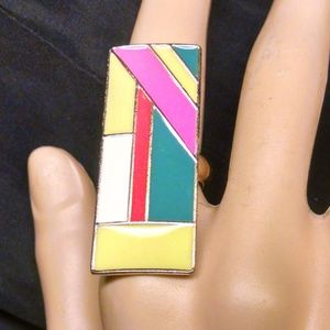 Rectangler multi colored goldtone stylish Ring